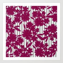Modern geometric gray white burgundy red floral Art Print