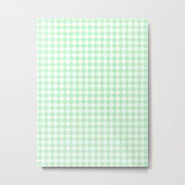 Small Diamonds - White and Light Green Metal Print