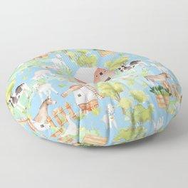 Farm Life - Little Cute Animals In A Meadow - On Blue  Floor Pillow