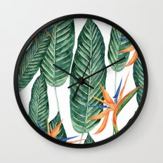 Banana And Flowers #society6 Wall Clock
