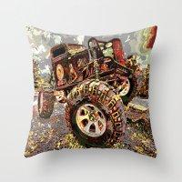 truck Throw Pillows featuring mud truck by Vector Art