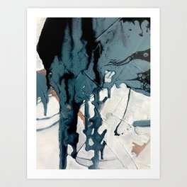 Fortune[4]: A bold, minimal, abstract mixed-media piece in blue and black Art Print