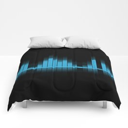 Blue Graphic Equalizer on Black Comforters