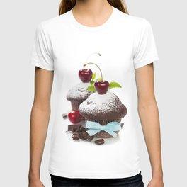 fresh chocolate muffins with cherry T-shirt