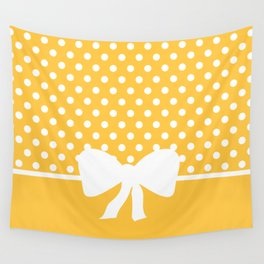 Dots dip-dye pattern with cute bow in yellow Wall Tapestry