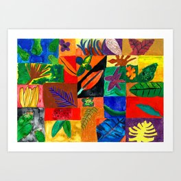 Colourful Plant Collage Art Print