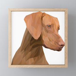 Brown Dog Head Lowpoly Art Illustration Framed Mini Art Print