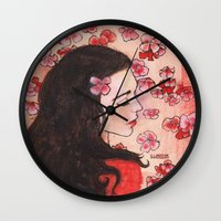 snow white Wall Clocks featuring Snow White by Sarah Larguier