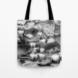 Water Lilys Monochrome Art Tote Bag