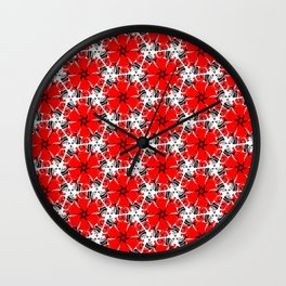 Red poppies floral geometric spring pattern Wall Clock