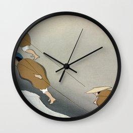 Kamisaka Sekka - Fishermen from Momoyogusa Wall Clock