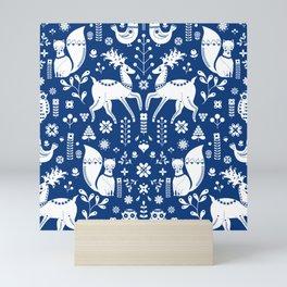 Whimsical Scandinavian Folk Art With Cute Forest Animals Mini Art Print