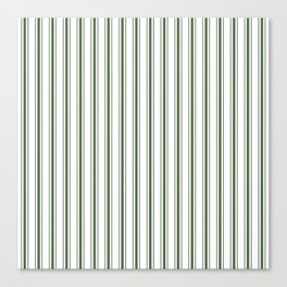 Large Dark Forest Green and White Mattress Ticking Stripes Canvas Print
