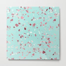 Turquoise and Rosegold Glitter Terrazzo Metal Print