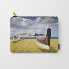 Outrigger canoe on beach Carry-All Pouch
