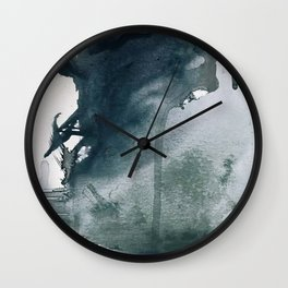 Lakeside: a minimal, abstract, watercolor and ink piece in shades of blue and green Wall Clock