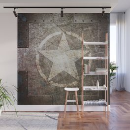 Army Star on Distressed Riveted Metal Door Wall Mural