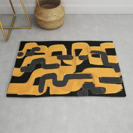 Mid Century Abstract Black & Yellow Fun Pattern 60's Ripple Mustard Color Trippy Maze Rug