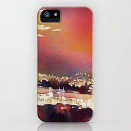 Fine art poured watercolor painting of colonial churches on the Plaza de Armas in Cusco iPhone Case