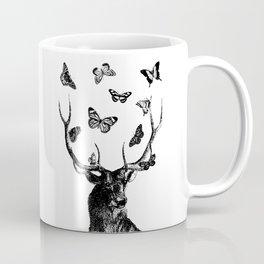 The Stag and Butterflies | Deer and Butterflies | Vintage Stag | Vintage Deer | Black and White | Coffee Mug