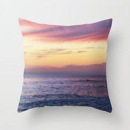 Pink Sunset over Carmel Beach Throw Pillow