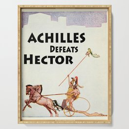 Achilles Kills Hector in The Illiad Illustration (1918) Serving Tray