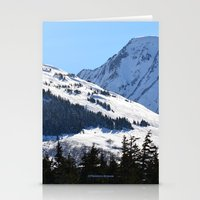 skiing Stationery Cards featuring Back-Country Skiing  - I by Alaskan Momma Bear