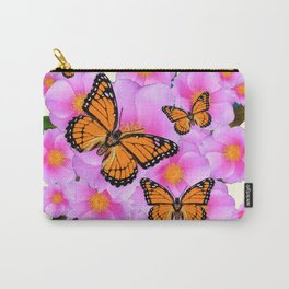 PINK ROSES MONARCH BUTTERFLIES CREAM COLOR ART Carry-All Pouch