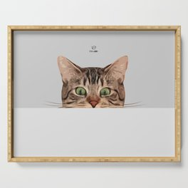 Cat on Gray Serving Tray