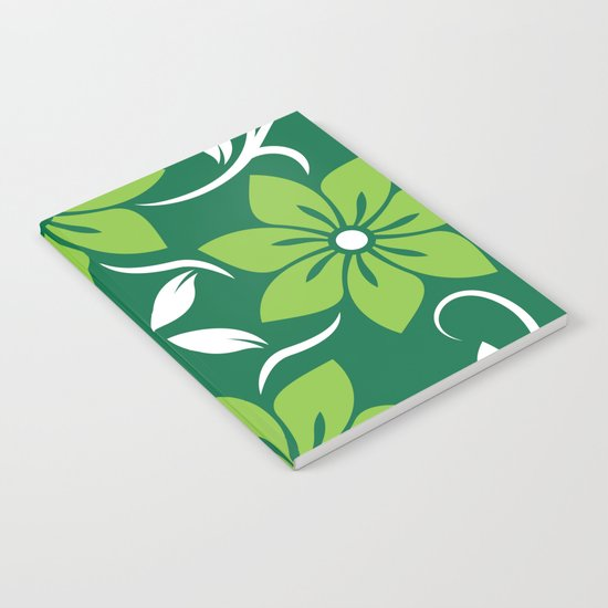 Green Spring Flower Pattern Notebook
