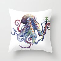 octopus Throw Pillows featuring Octopus by Sam Nagel