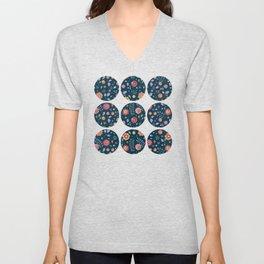 Teal and Brights Flower Pattern Design Unisex V-Neck