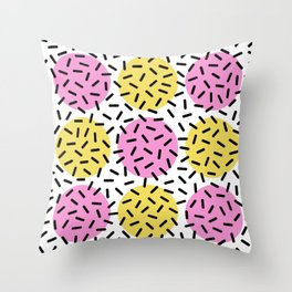 Memphis Polka Dot Sprinkles Pattern 131 Throw Pillow