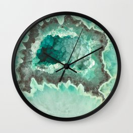 Minty Geode Crystals Wall Clock