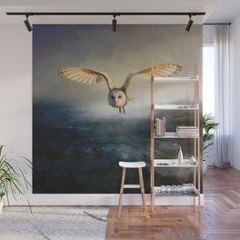 An owl flies over the lake Wall Mural