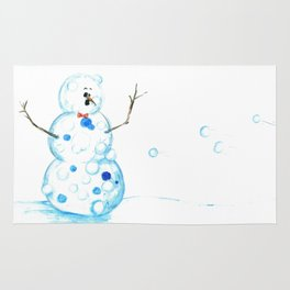 Snowman in a Snowball Fight! Rug