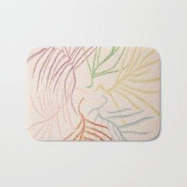 Pastel Coloured Feather Print Bath Mat