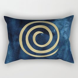 Infinity Navy Blue And Gold Abstract Modern Art Painting Rectangular Pillow