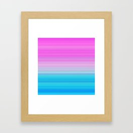 Pink & Aquamarine Blue Stripes Framed Art Print