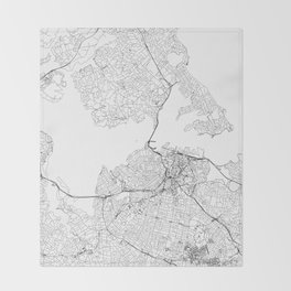 Auckland White Map Throw Blanket