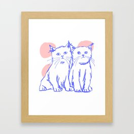 Katzen 002 / Minimal Line Drawing Of Two Cats Framed Art Print