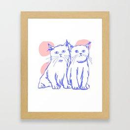Katzen 002 / Minimal Line Drawing Of Two Cats Framed Art Print