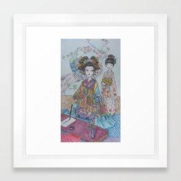 An Oiran and Her Kamuro Framed Art Print