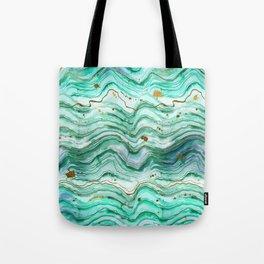 Green Geode Watercolor Tote Bag