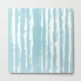 Shibori Stripe Seafoam Metal Print