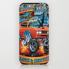 Classic Sixties Muscle Car Parts & Service Cartoon iPhone Case
