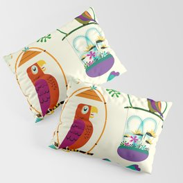 Vintage Modern Tiki Birds Pillow Sham