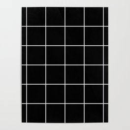 white grid on black background - Poster