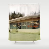 truck Shower Curtains featuring Truck Stop by Man and his World