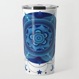 Blue monochromatic mandala dream catcher Travel Mug